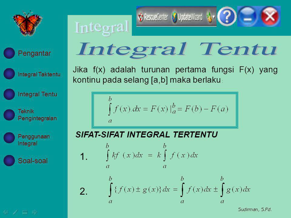 Integral Tentu Pengantar. Jika f(x) adalah turunan pertama fungsi F(x) yang kontinu pada selang [a,b] maka berlaku :